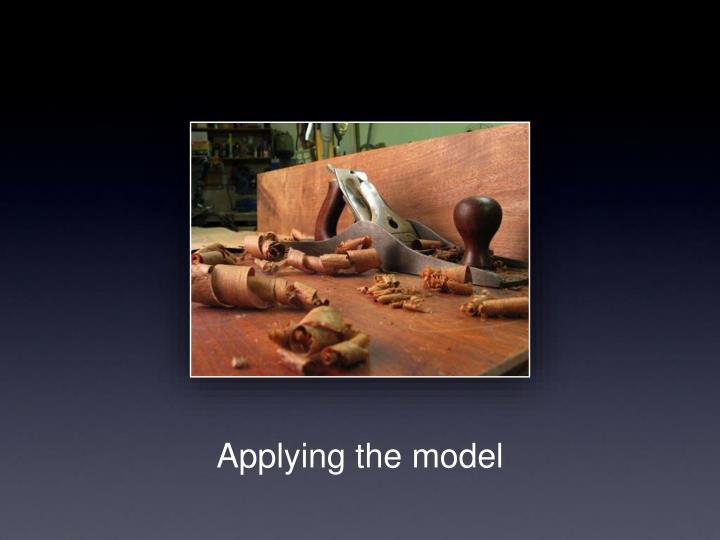 Applying the model