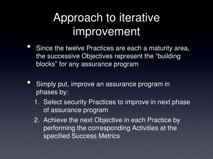 Approach to iterative improvement
