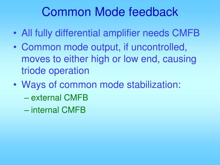 Common Mode feedback
