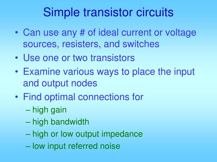 Simple transistor circuits