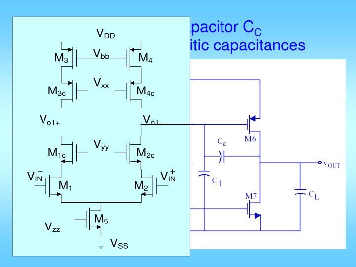 Miller compensator capacitor C