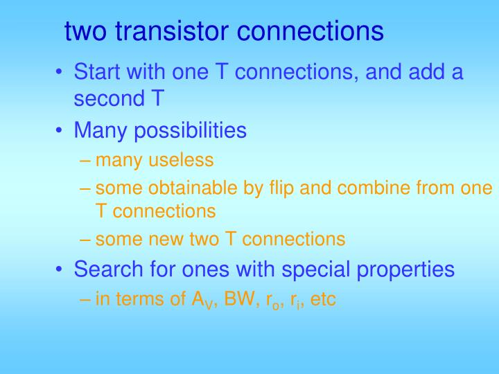 two transistor connections