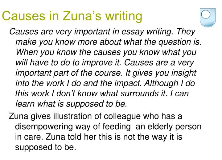 Causes in Zuna's writing