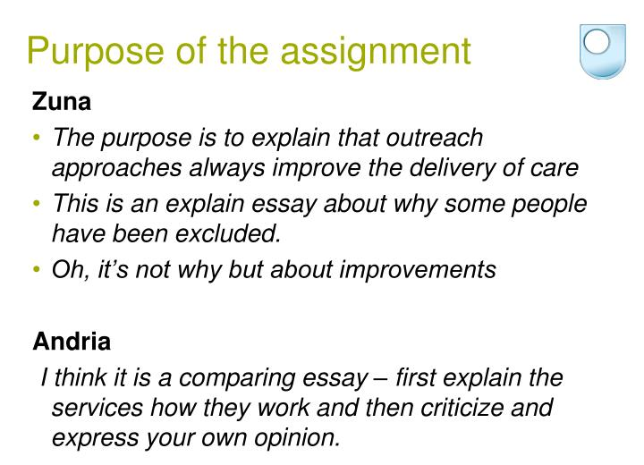 Purpose of the assignment