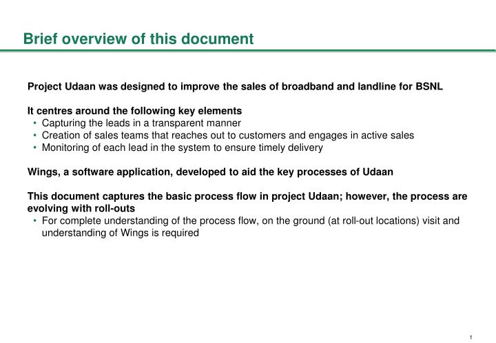 Brief overview of this document