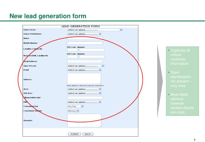 New lead generation form
