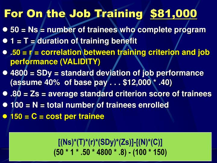 For On the Job Training