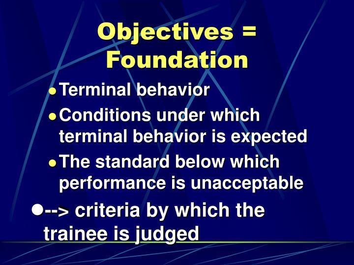 Objectives = Foundation