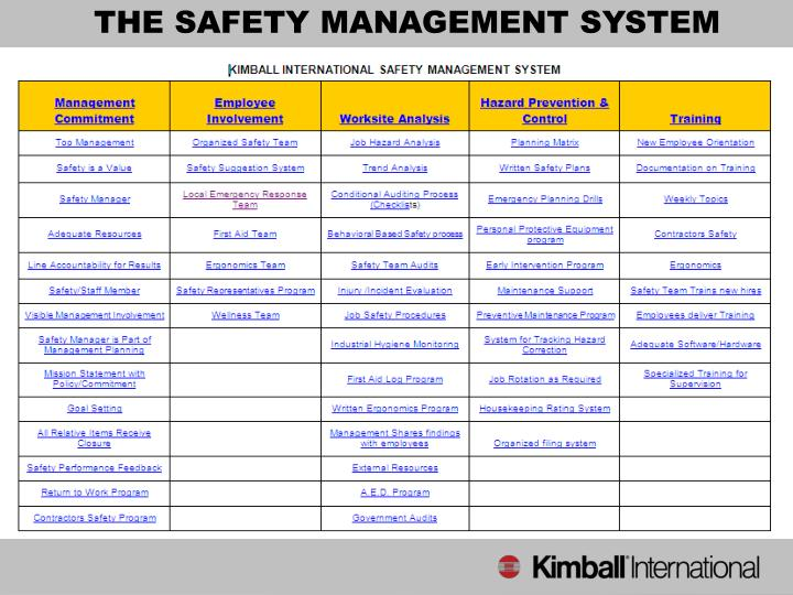THE SAFETY MANAGEMENT SYSTEM