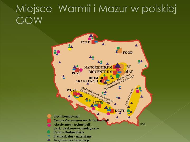 Miejsce  Warmii i Mazur w polskiej GOW