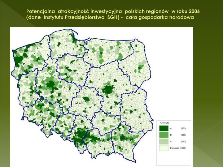 Potencjalna  atrakcyjno inwestycyjna  polskich regionw  w roku 2006