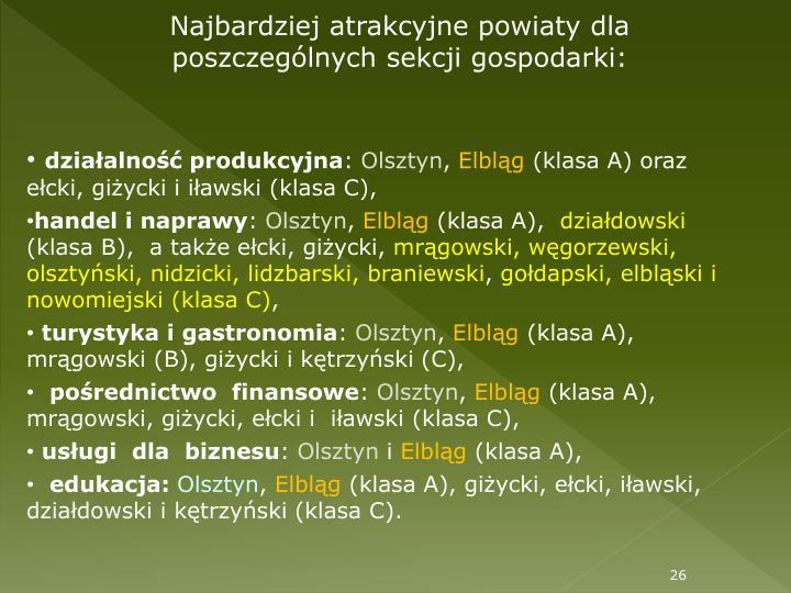 Najbardziej atrakcyjne powiaty dla poszczególnych sekcji gospodarki: