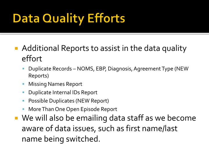 Data Quality Efforts