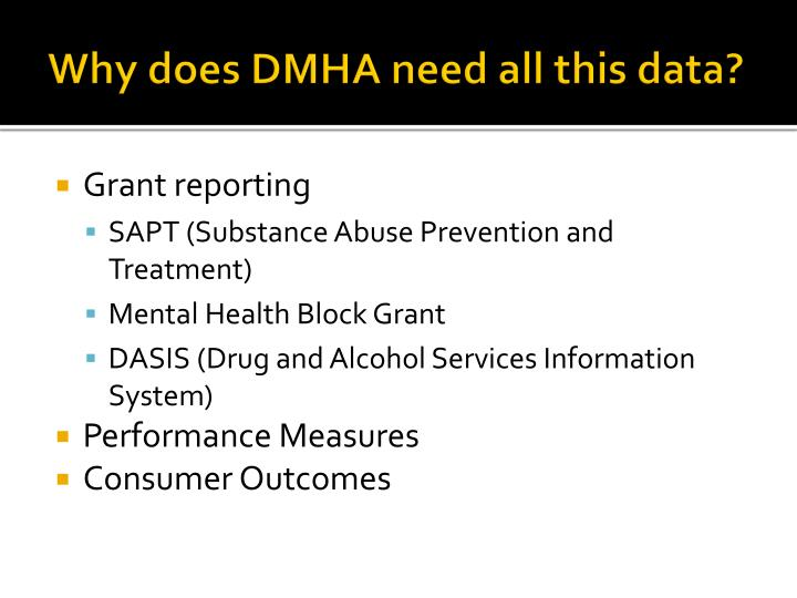 Why does DMHA need all this data?