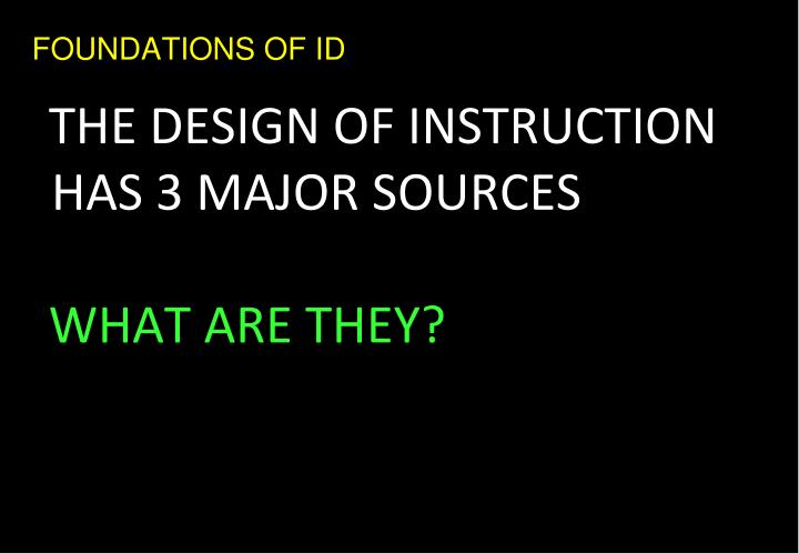 FOUNDATIONS OF ID