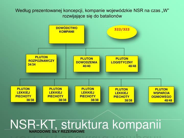 """Według prezentowanej koncepcji, kompanie wojewódzkie NSR na czas """"W"""" rozwijające się do batalionów"""