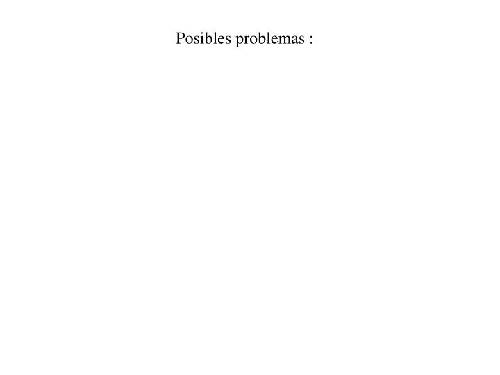 Posibles problemas :