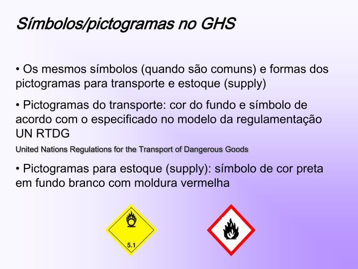 Símbolos/pictogramas no GHS
