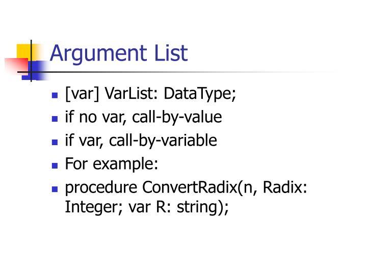Argument List