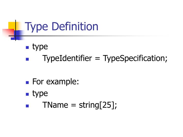 Type Definition