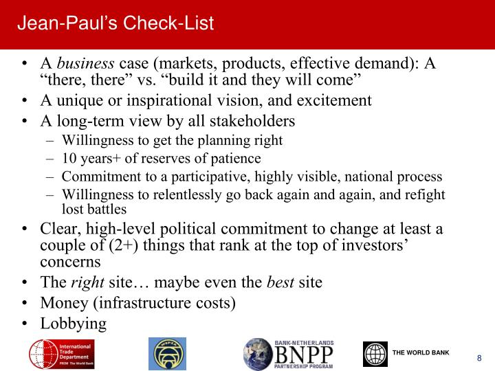 Jean-Paul's Check-List