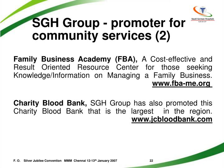 SGH Group - promoter for community services (2)