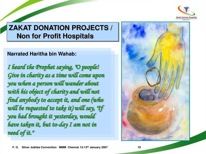 ZAKAT DONATION PROJECTS / Non for Profit Hospitals