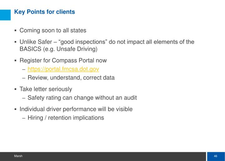 Key Points for clients