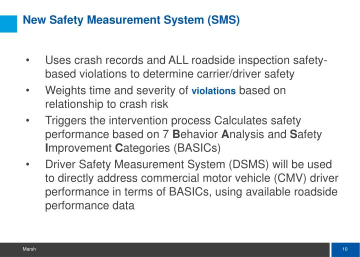 New Safety Measurement System (SMS)