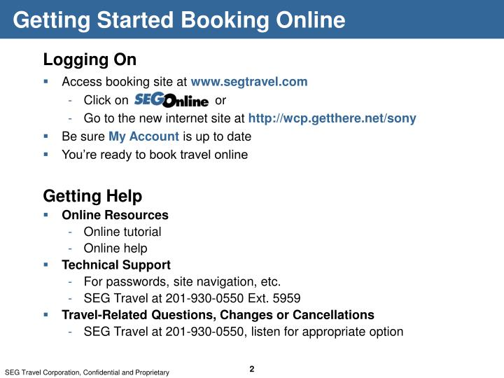 Getting Started Booking Online