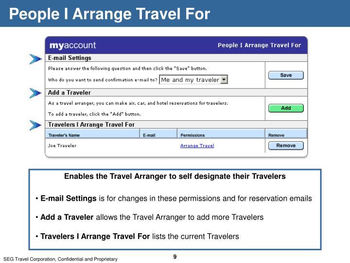 People I Arrange Travel For