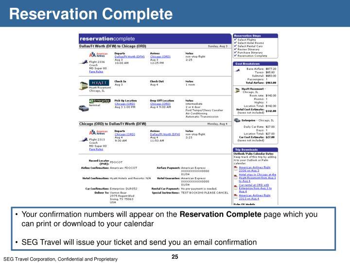 Reservation Complete