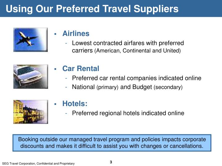 Using Our Preferred Travel Suppliers