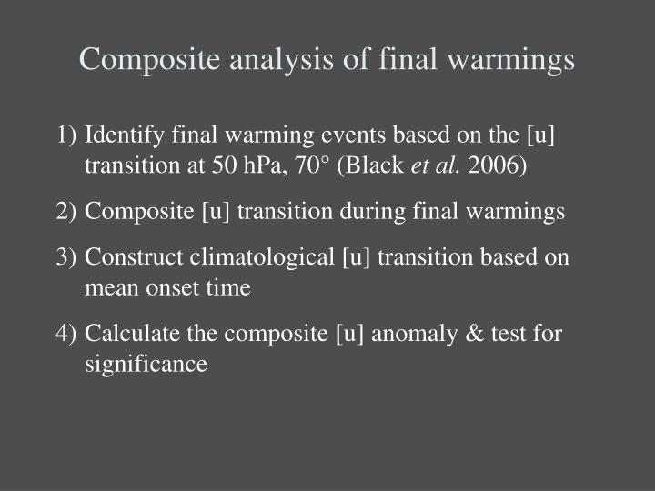 Composite analysis of final warmings