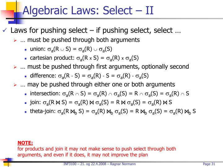 Algebraic Laws: Select – II