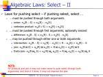 algebraic laws select ii