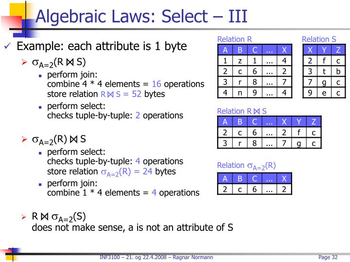 Algebraic Laws: Select – III