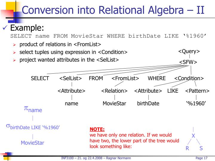 Conversion into Relational Algebra – II