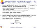 conversion into relational algebra vii