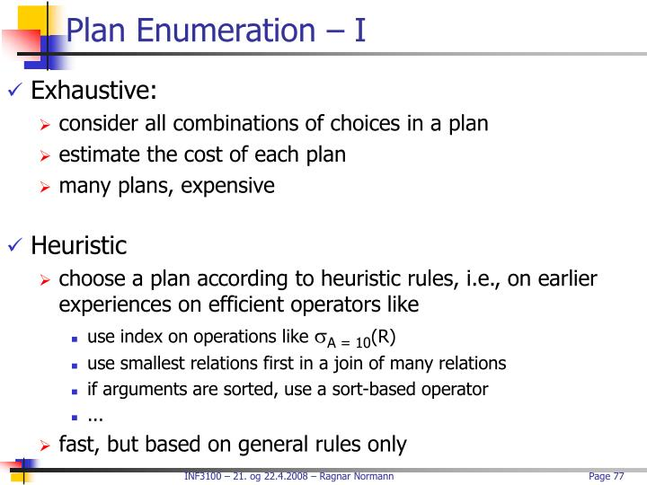 Plan Enumeration – I