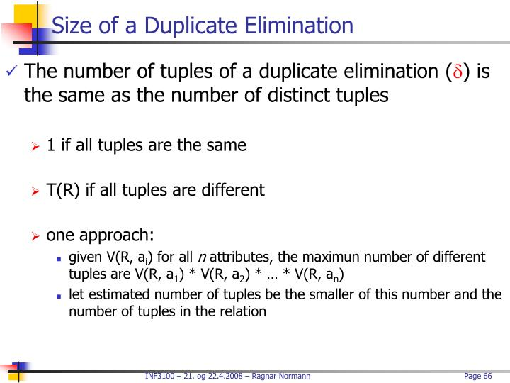 Size of a Duplicate Elimination