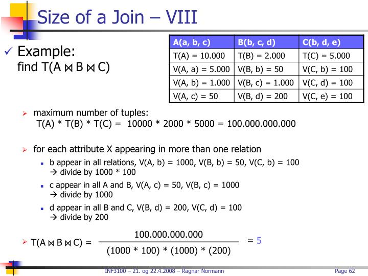 Size of a Join – VIII