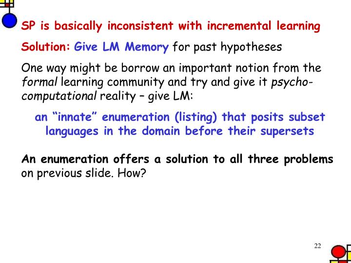 SP is basically inconsistent with incremental learning
