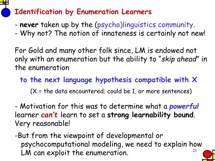 Identification by Enumeration Learners