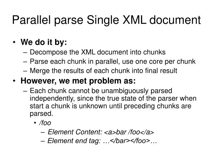 Parallel parse Single XML document