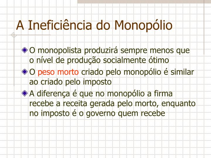 A Ineficiência do Monopólio