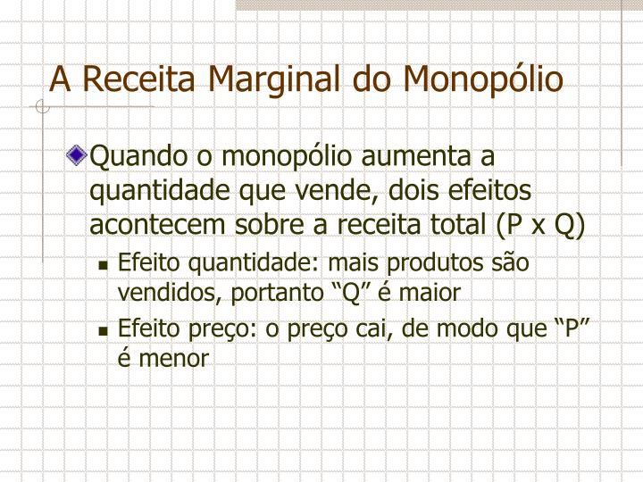 A Receita Marginal do Monopólio
