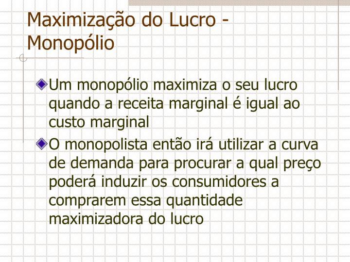 Maximização do Lucro - Monopólio