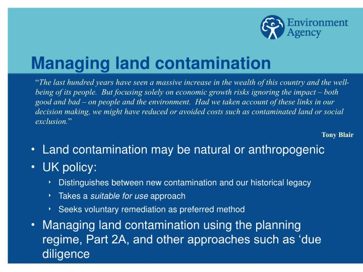 Managing land contamination