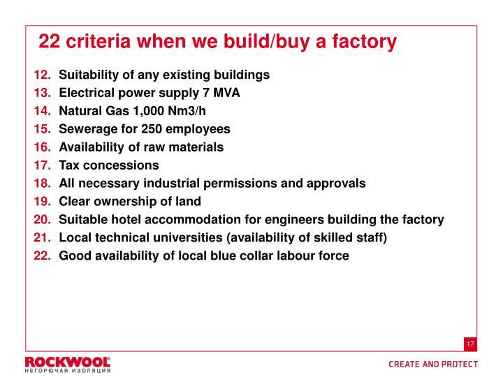 22 criteria when we build/buy a factory